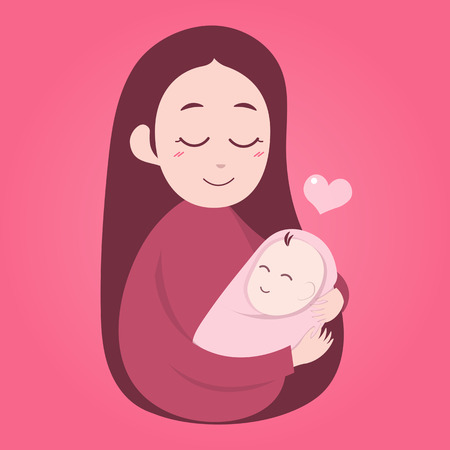 Illustration for Mother holding cute baby. Happy Mothers' day. - Royalty Free Image