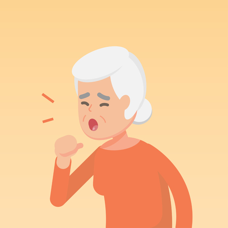 Illustration for Senior woman coughing, sickness allergy concept, Vector flat illustration. - Royalty Free Image