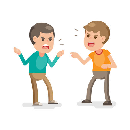 Illustration pour Two young men fighting angry and shouting at each other, Vector cartoon illustration. - image libre de droit