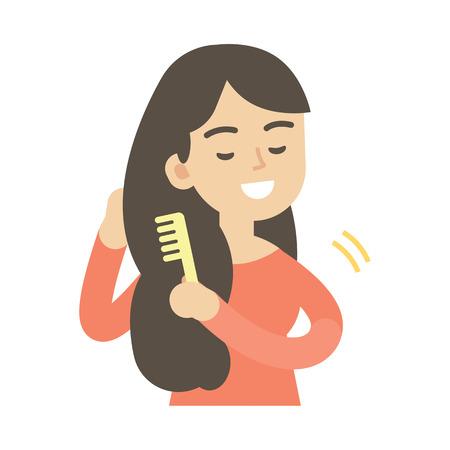 Ilustración de Young woman combing hair, cute vector illustration. - Imagen libre de derechos