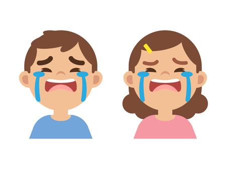 Illustration pour Cute little boy and girl crying, close up face, vector illustration. - image libre de droit