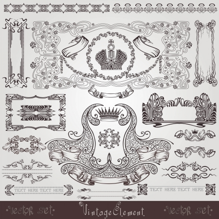 Illustration for old royal label banner element - Royalty Free Image