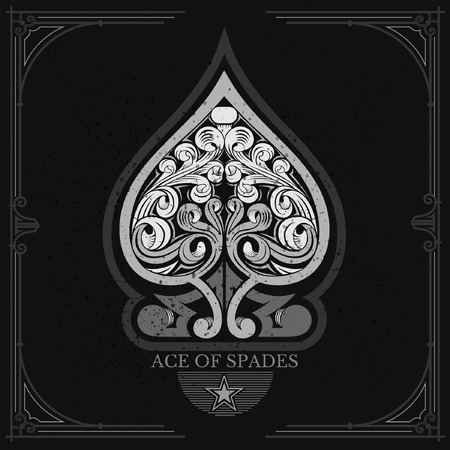 Ace of spades with floral pattern inside. White on black
