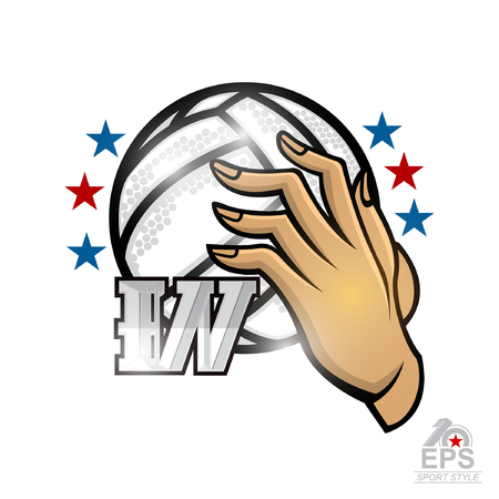 Illustration pour Lady hand hold volleyball ball with letter W. Vector sport logo isolated on white for any woman team or competition - image libre de droit