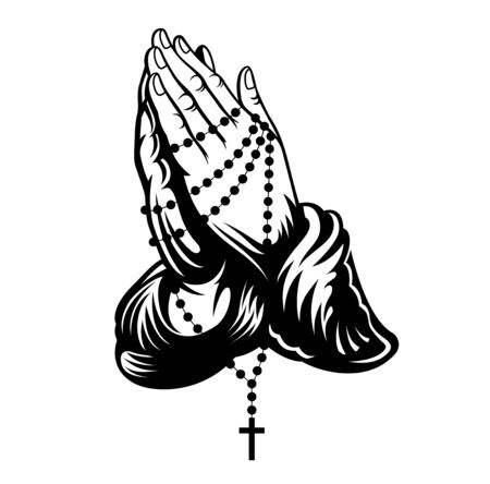 Illustration pour Praying hands with cross on chain around hands. Vector illustration. - image libre de droit