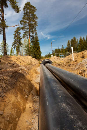 New district heating pipes laid on the ground