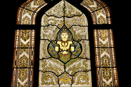 Stained glass window of angel, Wat Benjamobopith, Bangkok Thailand