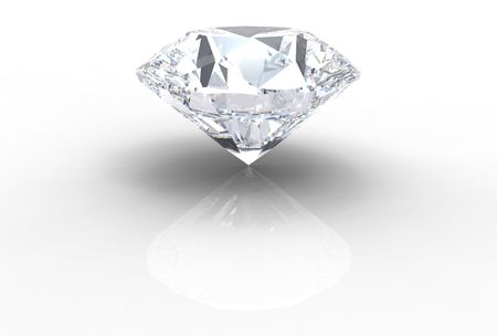 diamond gemstone isolated on white with shadows
