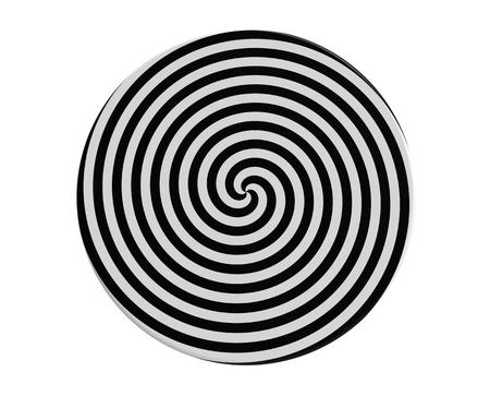 Hypnotic spiral on the round plate 3d render