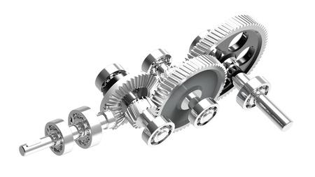 Mechanism concept 3d render of a speed reducer