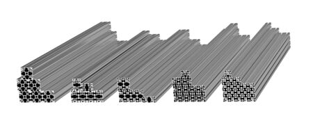 Stack of aluminum extruded profiles isolated on white 3d render