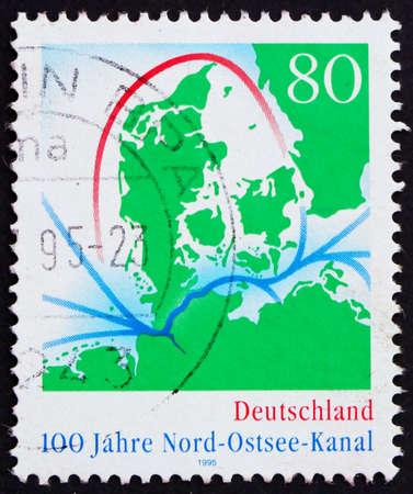 GERMANY - CIRCA 1995: a stamp printed in the Germany shows Map of Kiel Canal, century, circa 1995