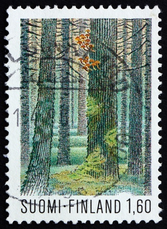 FINLAND - CIRCA 1979: a stamp printed in the Finland shows Multiharju Forest, Seitseminen National Park, circa 1979