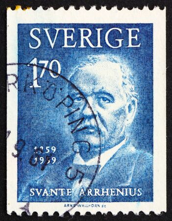 SWEDEN - CIRCA 1959: a stamp printed in the Sweden shows Svante Arrhenius, chemist and physicist, winners of the Nobel Prize for Chemistry, circa 1959