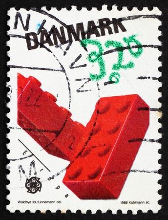 DENMARK - CIRCA 1989: a stamp printed in the Denmark shows Lego Blocks, Children's toys, circa 1989
