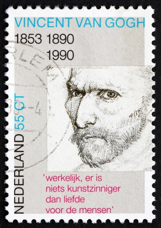 NETHERLANDS - CIRCA 1990: a stamp printed in the Netherlands shows Self-portrait, pencil sketch, by Vincent van Gogh, circa 1990