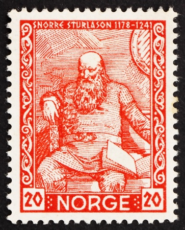 NORWAY - CIRCA 1941: a stamp printed in the Norway shows Snorri Sturluson, Icelandic Historian and Poet, circa 1941