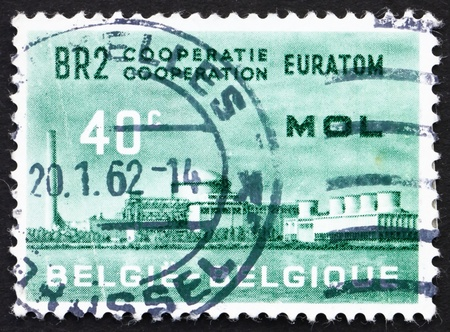 BELGIUM - CIRCA 1961: a stamp printed in the Belgium shows Atomic Reactor Plant, BR2, Mol, Atomic Nuclear Research Center at Mol, Belgium, circa 1961