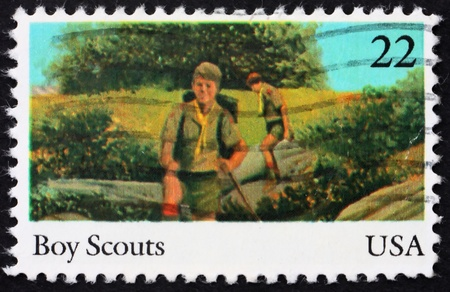 UNITED STATES OF AMERICA - CIRCA 1985: a stamp printed in the USA shows Boy scouts, 75th anniversary of Boy scouts of America, circa 1985