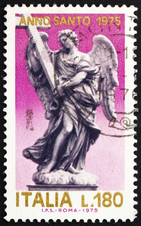 ITALY - CIRCA 1975: a stamp printed in the Italy shows Angel with Cross, Statue by Giovanni Bernini on the Angels' Bridge, San Angelo, circa 1975