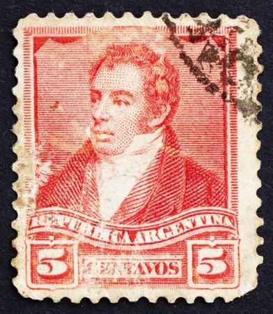 ARGENTINA - CIRCA 1892: a stamp printed in the Argentina shows Bernardino Rivadavia, The First President of Argentina, 1826 - 1827, circa 1892