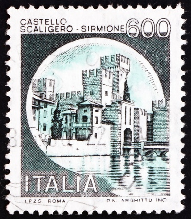 ITALY - CIRCA 1980: a stamp printed in the Italy shows Castle Scaligero, Sirmione, circa 1980