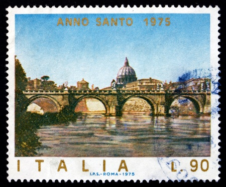 ITALY - CIRCA 1975: a stamp printed in the Italy shows Angels' Bridge, Rome, Vatican, circa 1975
