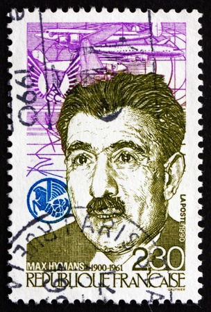FRANCE - CIRCA 1990: a stamp printed in the France shows Max Hymans, Leftist Politician and Member of the Resistance, Planes and ACC Emblem, circa 1990