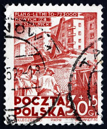 POLAND - CIRCA 1952: a stamp printed in the Poland shows Apartment House Construction, Poland's 6-year Plan, circa 1952