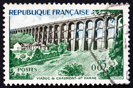 FRANCE - CIRCA 1960: a stamp printed in the France shows Chaumont Viaduct, Haute-Marne Department, circa 1960