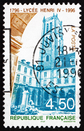 FRANCE - CIRCA 1996: a stamp printed in the France shows Henry IV High School, Public Secondary School Located in Paris, Bicentenary, circa 1996