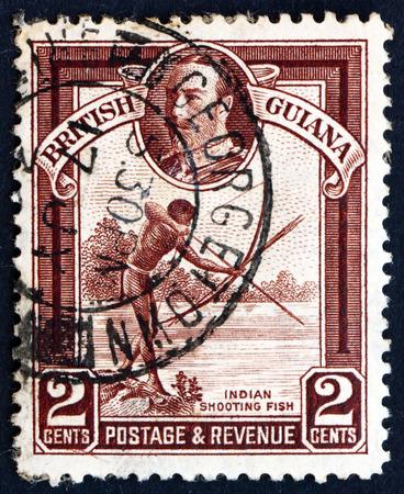 BRITISH GUIANA - CIRCA 1934  a stamp printed in British Guiana shows Indian Shooting Fish, King George V, circa 1934
