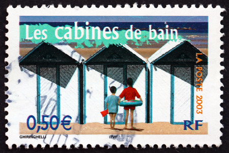 FRANCE - CIRCA 2003  a stamp printed in the France shows Beach Cabins, Aspects of Life in the French Regions, circa 2003