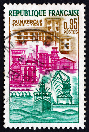 FRANCE - CIRCA 1962: a stamp printed in the France shows View of Dunkirk, Commune in the Nord Department, circa 1962