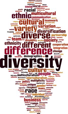 Diversity word cloud concept. Vector illustration