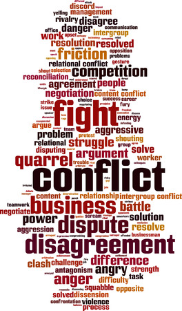 Conflict word cloud concept.