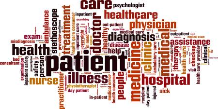 Illustration pour Patient word cloud concept. Vector illustration - image libre de droit