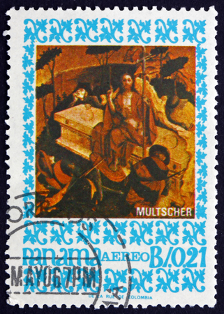 PANAMA - CIRCA 1967: a stamp printed in Panama shows The Arisen Christ, Painting by Hans Multscher, German Sculptor and Painter, circa 1967