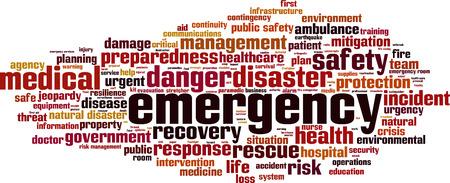 Illustration pour Emergency word cloud concept. Vector illustration - image libre de droit