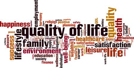 Illustration pour Quality of life word cloud concept. Vector illustration - image libre de droit