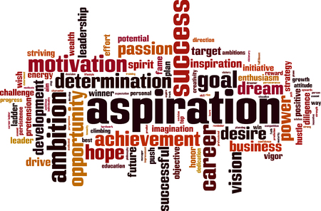 Aspiration word cloud concept. Vector illustration