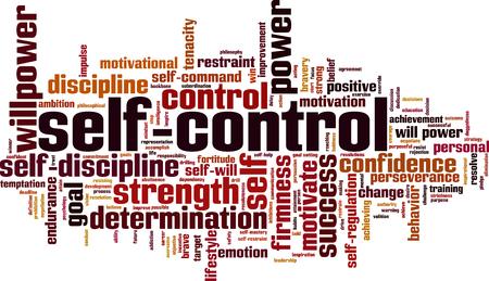Self-control word cloud concept. Vector illustration