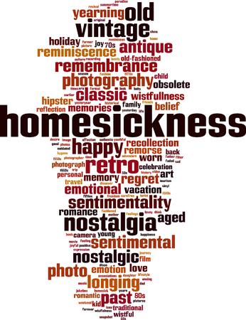 Homesickness word cloud concept. Vector illustration