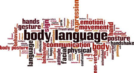 Illustration for Body language word cloud concept. Vector illustration - Royalty Free Image
