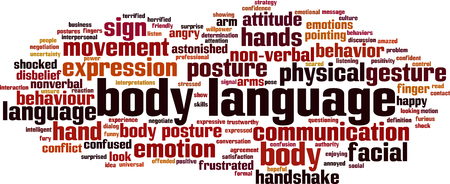 Ilustración de Body language word cloud concept. Vector illustration - Imagen libre de derechos