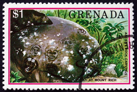 GRENADA - CIRCA 1976: a stamp printed in Grenada shows Mount Rich rock carvings, tourist publicity, circa 1976