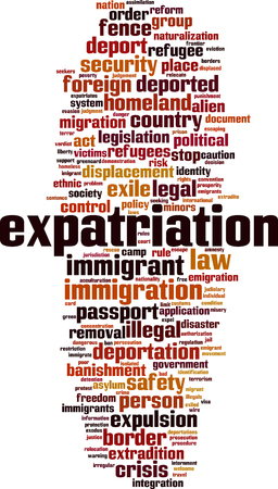 Expatriation word cloud concept. Vector illustration
