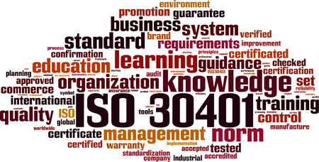 ISO 30401 word cloud concept. Vector illustration:: tasmeemME.com