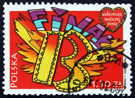 POLAND - CIRCA 2005: a stamp printed in Poland dedicated to 13th Concert of the Great Holiday Help Orchestra, circa 2005