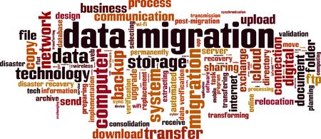 Data migration word cloud concept. Vector illustration